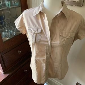 NY&Co Taupe Pinstriped Button Down Shirt